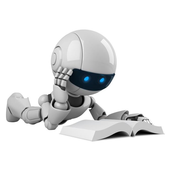 Funny robot read book